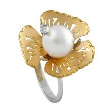 Sortija oro y perla australiana